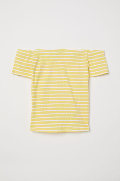 Ribbed off-the-shoulder top - Light yellow/White striped - Ladies | H&M CN