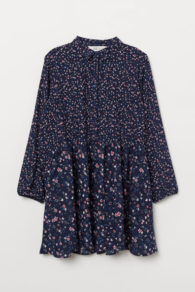 Shirt dress - Dark blue/Floral -  | H&M CN