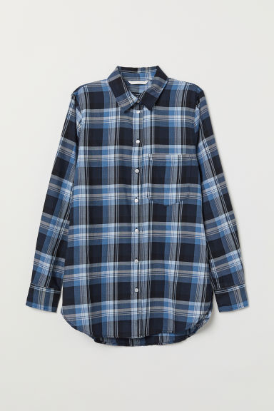 Checked Shirt - Dark blue/plaid - Ladies | H&M US