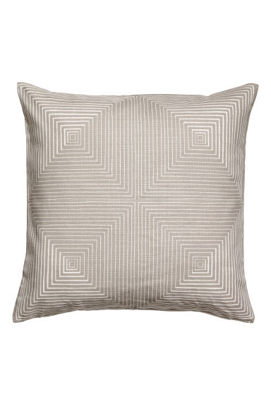 Slub-weave cushion cover - Light mole/White patterned - Home All | H&M GB