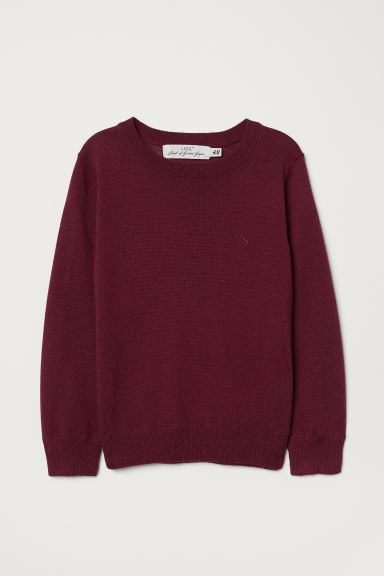 Fine-knit merino wool jumper - Dark red - Kids | H&M