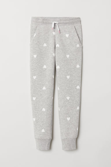 Joggers - Light grey marl/Hearts - Kids | H&M CN