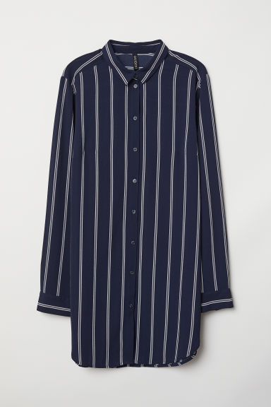 Crêpe shirt - Dark blue/Striped -  | H&M