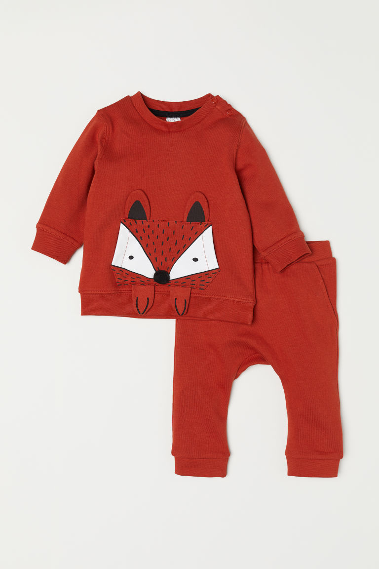 Sweatshirt and trousers - Dark orange - Kids | H&M CN