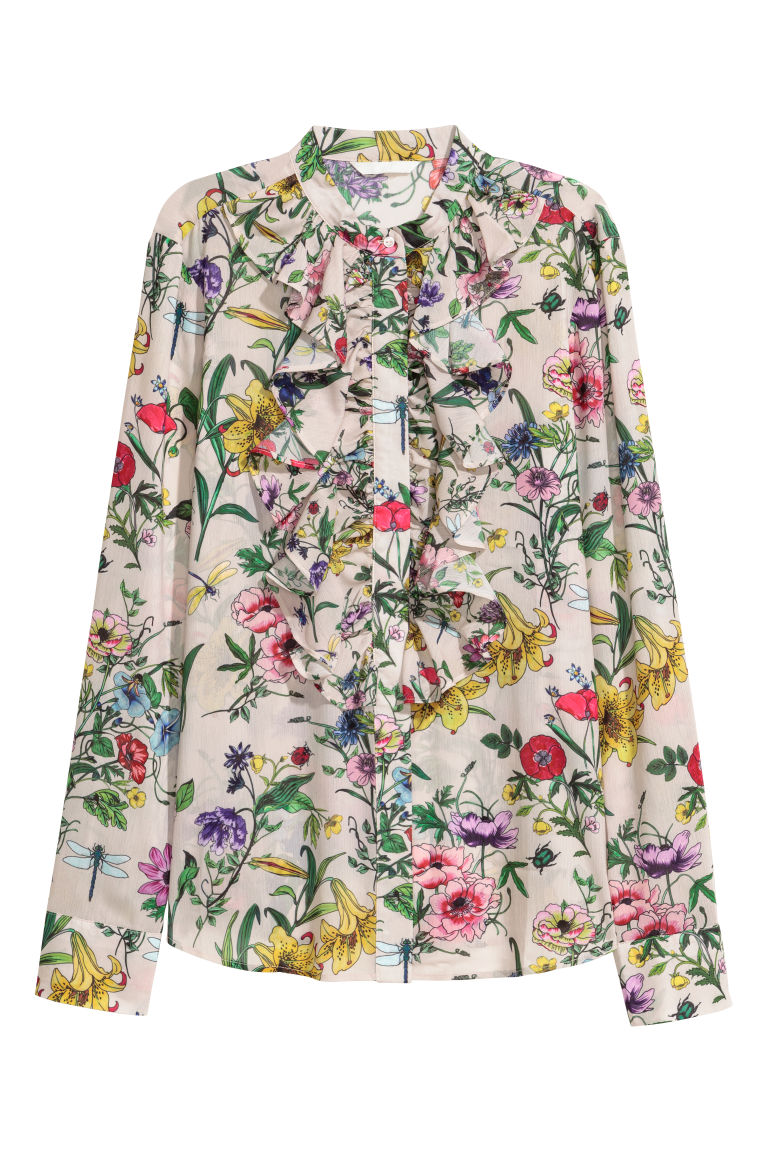 Plumeti blouse - Beige/Floral - Ladies | H&M GB