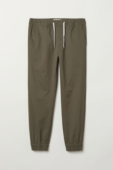 Cotton twill joggers - Khaki green - Men | H&M CN