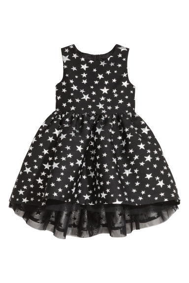 Jacquard-weave dress - Black/Stars - Kids | H&M