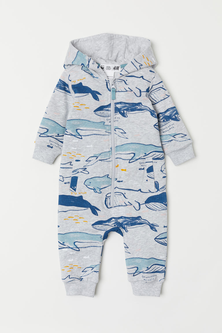 Patterned all-in-one suit - Light grey marl/Whales - Kids | H&M