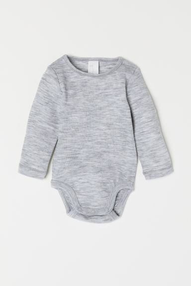 Wool bodysuit - Light grey marl - Kids | H&M