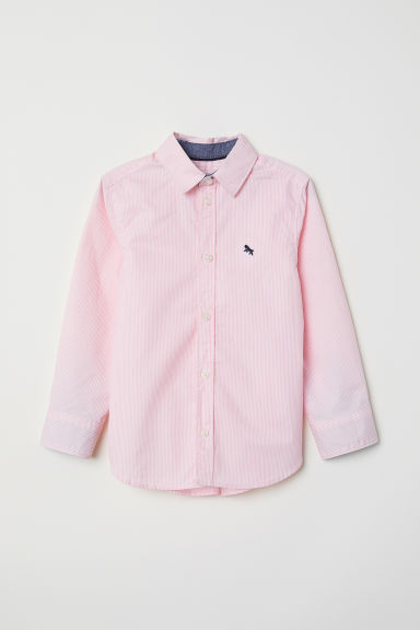 Cotton shirt - Light pink/White striped - Kids | H&M CN