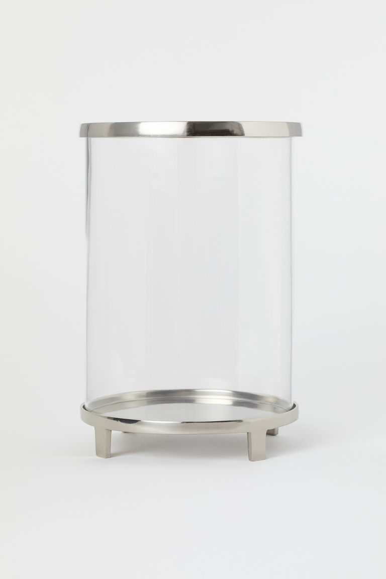 Small candle lantern - Clear glass/Silver-coloured - Home All | H&M CN