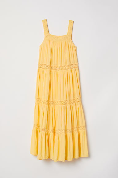 Crinkled maxi dress - Yellow - Ladies | H&M