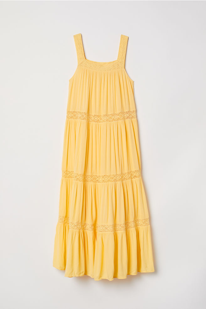 ff26cbc3408 Crinkled maxi dress - Yellow - Ladies
