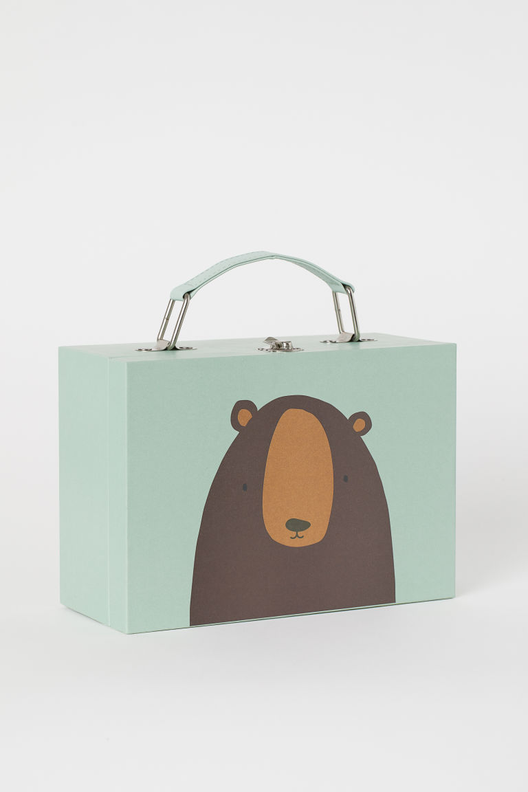 Small cardboard suitcase - Light green/Bear - Home All | H&M GB