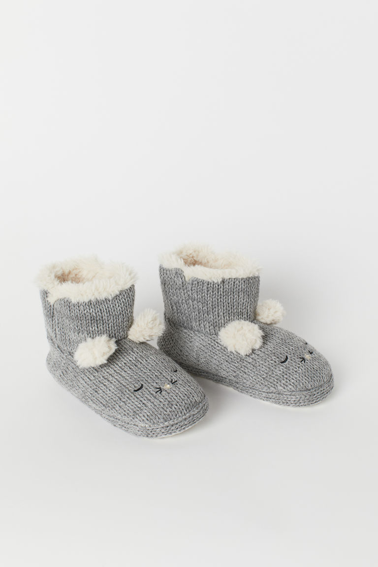 Knitted slippers - Grey marl - Kids | H&M