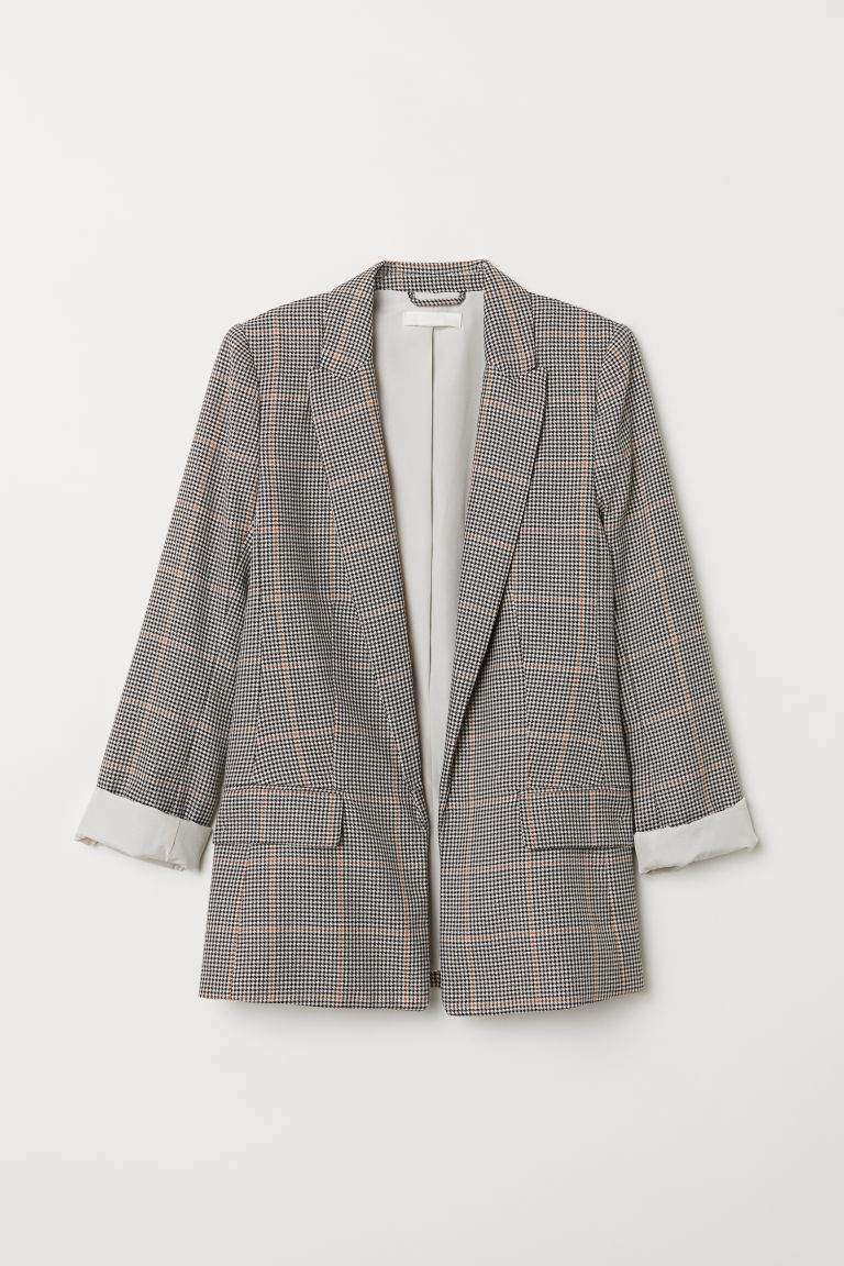 Straight-cut jacket - Cream/Black checked - Ladies | H&M IE