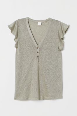69ff83b5b4e Flounce-sleeved linen top