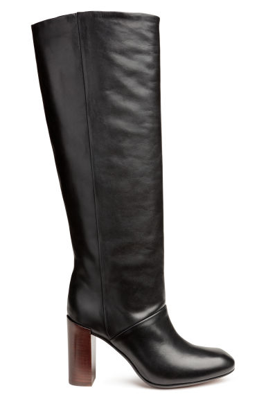 Knee-high leather boots - Black - Ladies | H&M CN