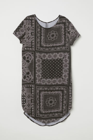 Viscose T-shirt dress - Dark grey/Paisley-patterned -  | H&M