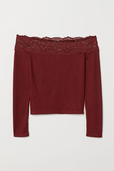 Off-the-shoulder top - Burgundy -  | H&M