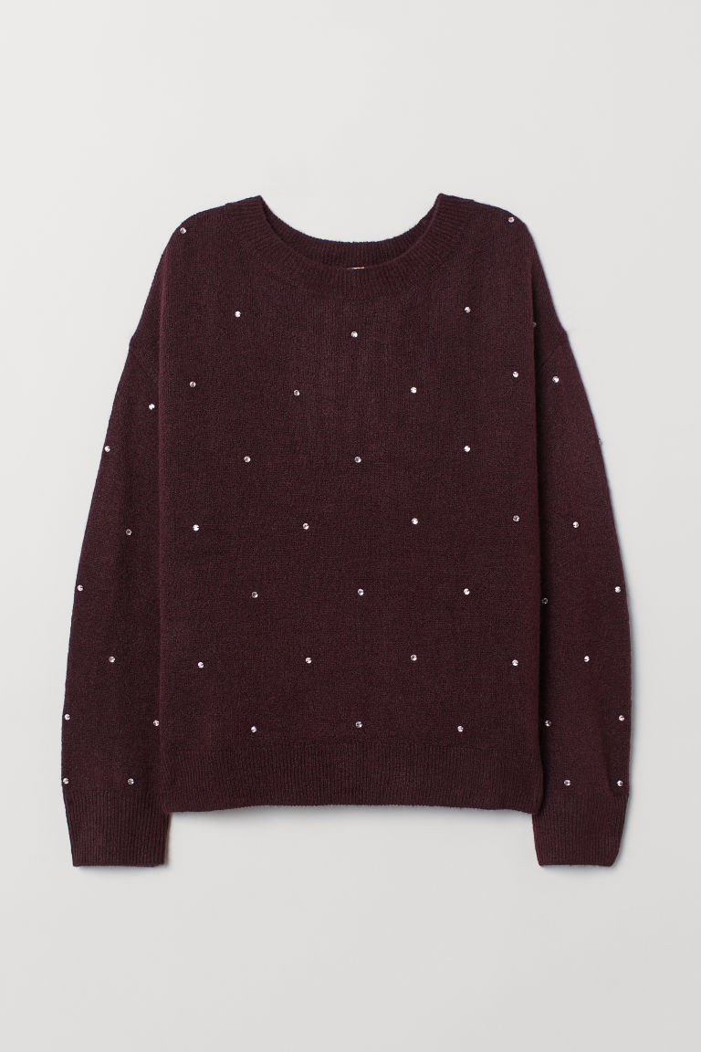 Fine-knit jumper - Plum purple - Ladies | H&M