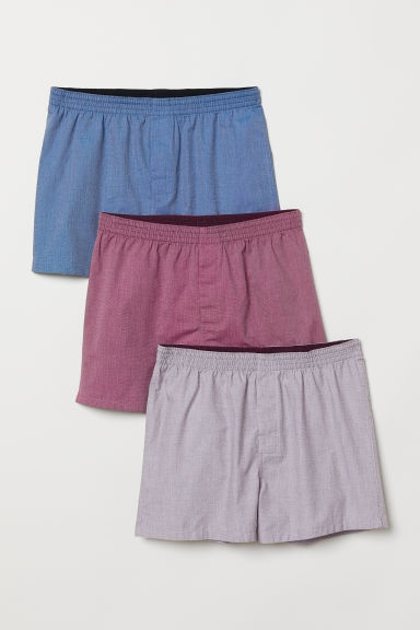 Set van 3 geweven boxershorts - Donkerrood/donkerblauw - HEREN | H&M BE