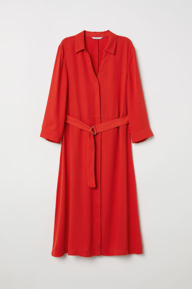 Dress with a belt - Bright red - Ladies | H&M CN