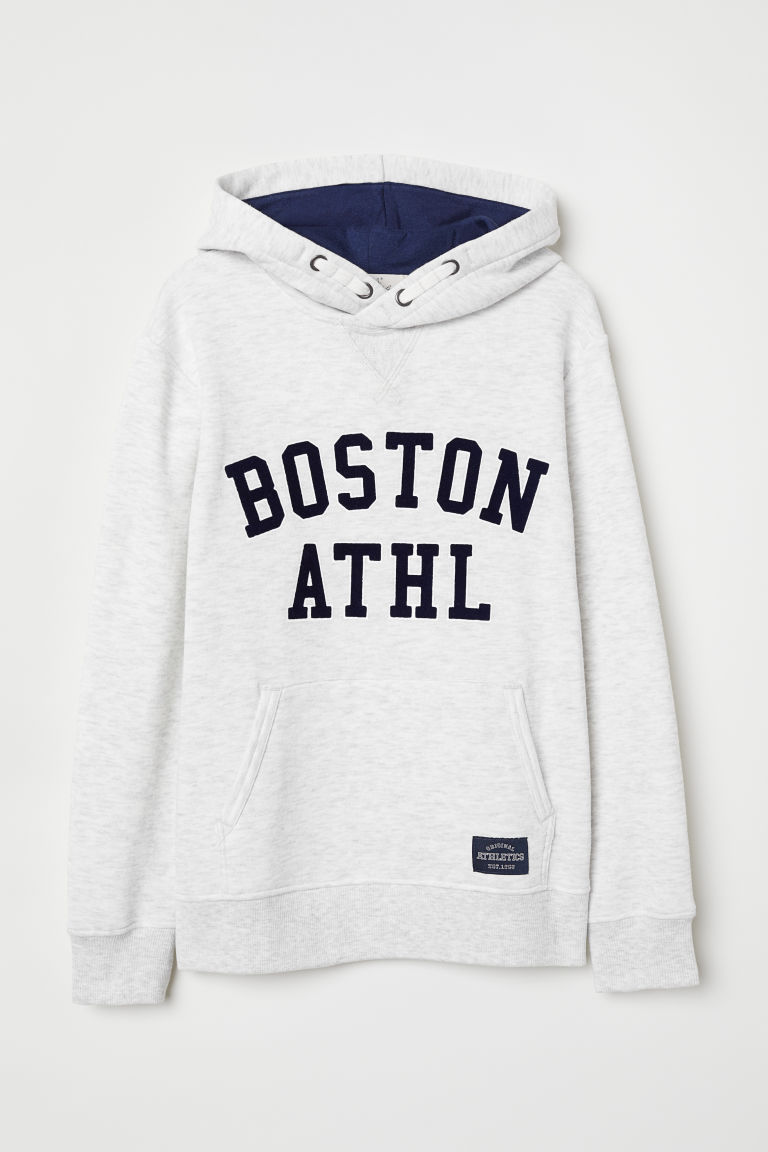 Hooded top with a text motif - Light grey marl/Boston - Kids | H&M CN