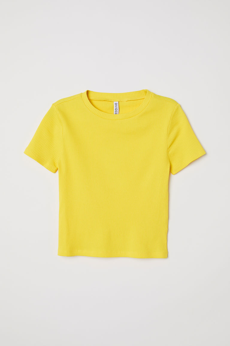 Geribd T-shirt - Geel - DAMES | H&M BE