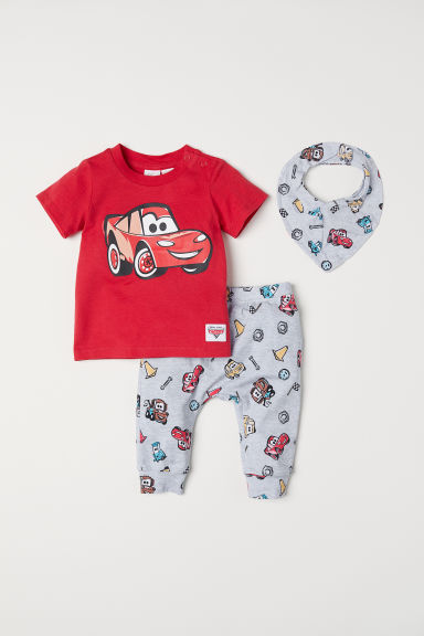 Printed jersey set - Red/Cars - Kids | H&M