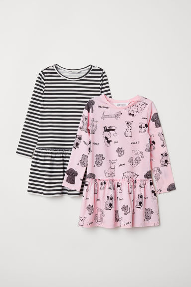 2-pack jersey dresses - Light pink/Dogs - Kids | H&M