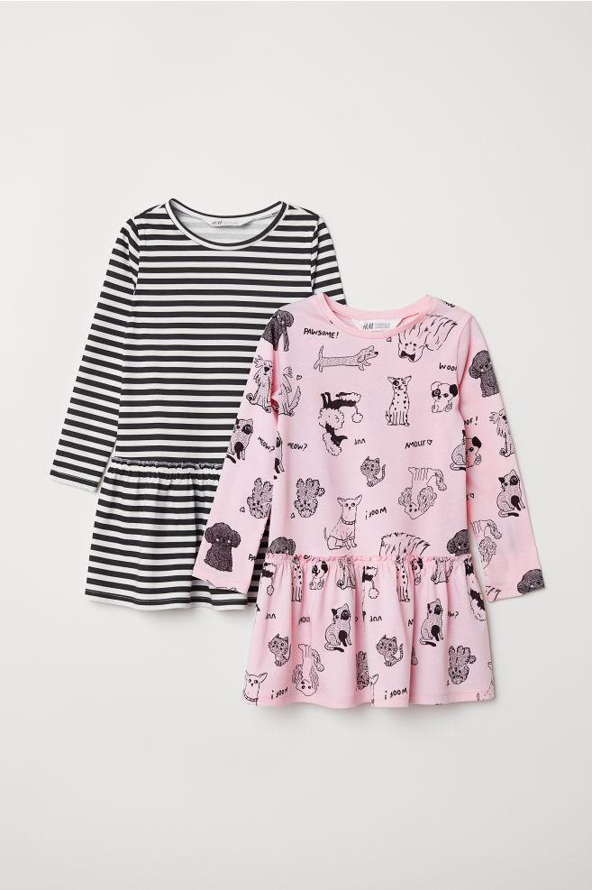 102e6216fc5e 2-pack Jersey Dresses - Light pink/dogs - Kids   H&M ...