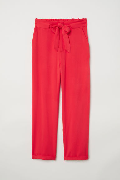 Paper bag trousers - Bright red - Ladies | H&M GB