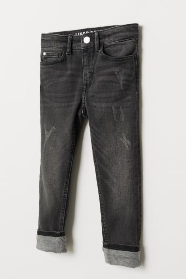 Skinny Fit Lined Jeans - Black denim - Kids | H&M CN