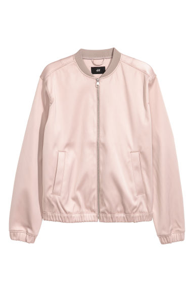 Satin bomber jacket - Light pink -  | H&M