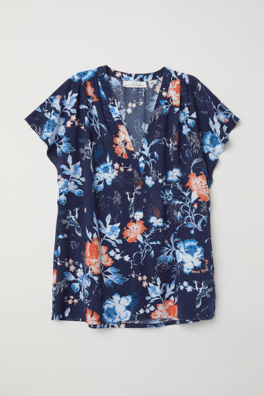 V-neck Blouse - Dark purple/floral - Ladies | H&M US