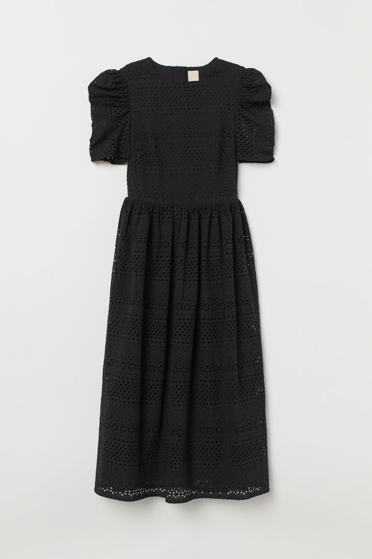 Puff-sleeved dress - Black - Ladies | H&M GB