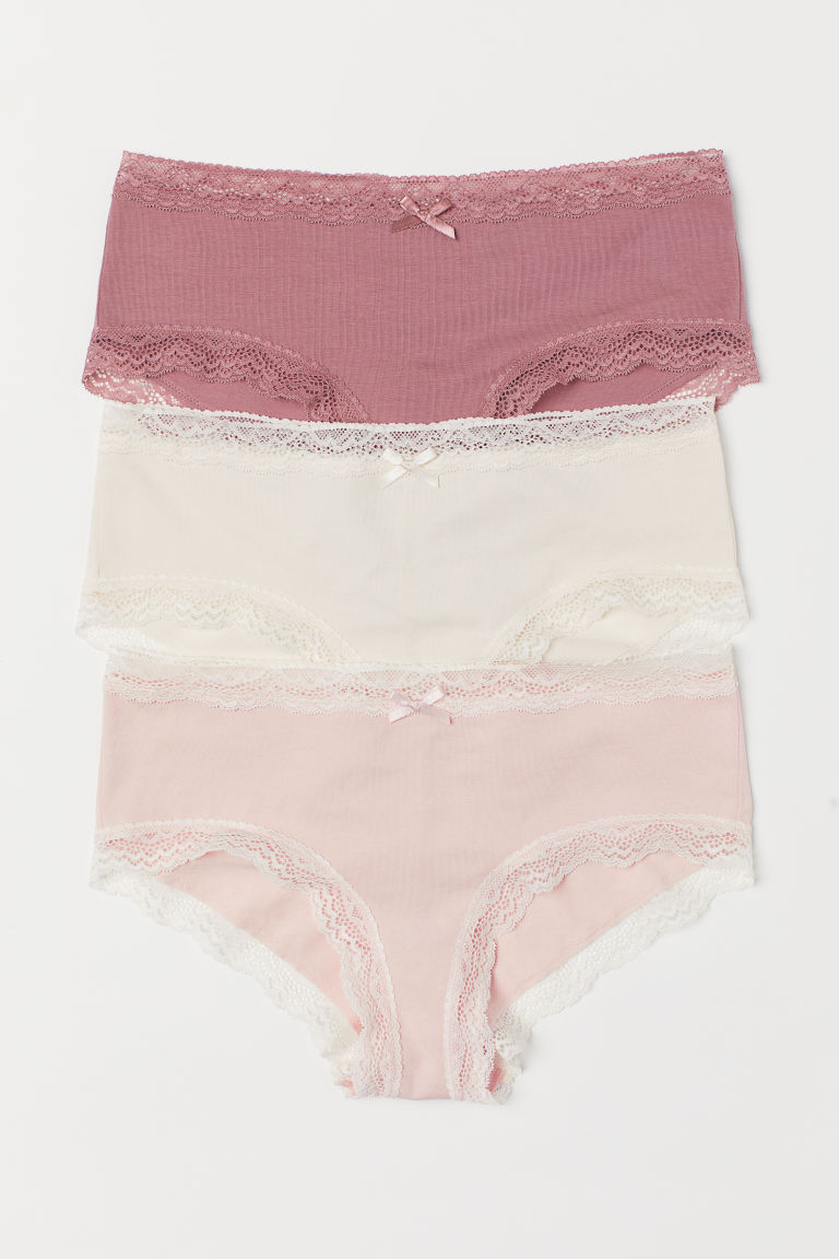 Hipsters in cotone, 3 pz - Rosa vintage - DONNA | H&M IT