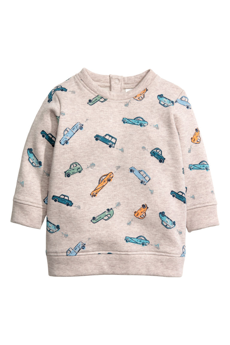 Sweater - Beige gemêleerd/auto's - KINDEREN | H&M BE