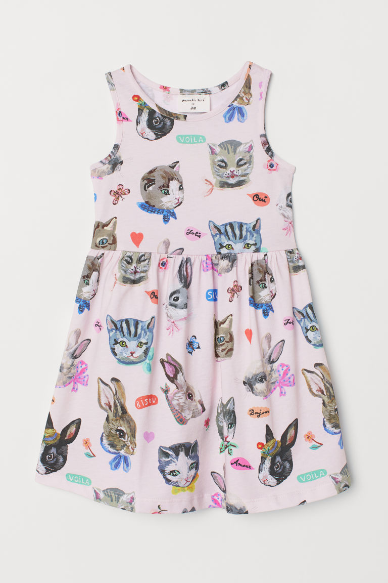 Patterned Dress - Powder pink/animals - Kids | H&M US