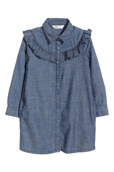 Shirt dress with a frill - Dark blue/Chambray -  | H&M