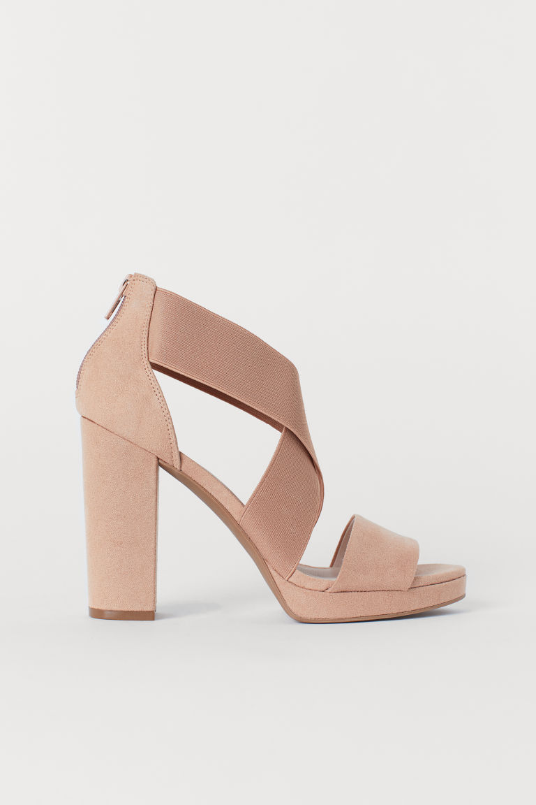 Sandals with elastic - Powder beige - Ladies | H&M