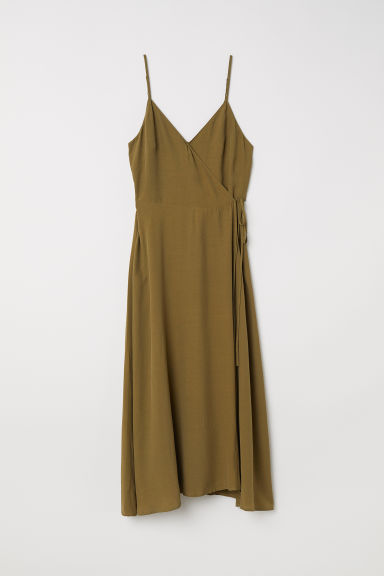 Sleeveless wrap dress - Khaki green - Ladies | H&M