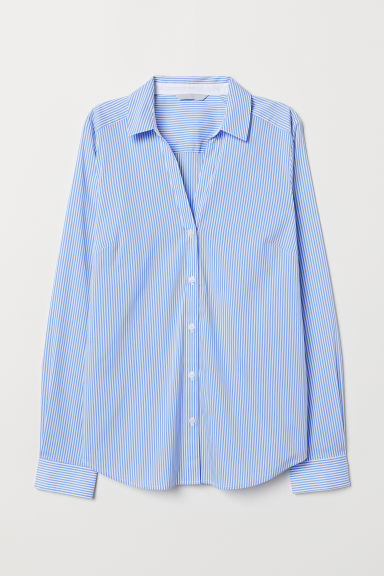 V-neck shirt - Light blue/White - Ladies | H&M