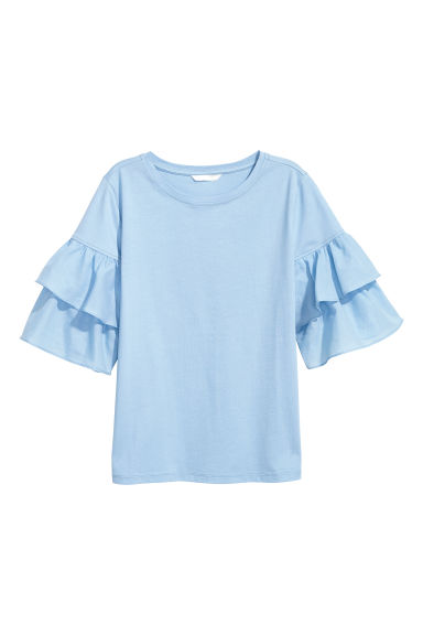 Top with frills - Light blue - Ladies | H&M CN
