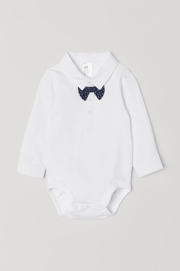 Shirt bodysuit with a bow tie - White/Dark blue - Kids | H&M CN