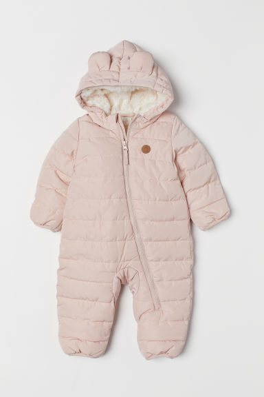 Pile-lined all-in-one suit - Powder pink - Kids | H&M CN