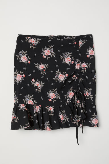 Drawstring skirt - Black/Floral - Ladies | H&M CN