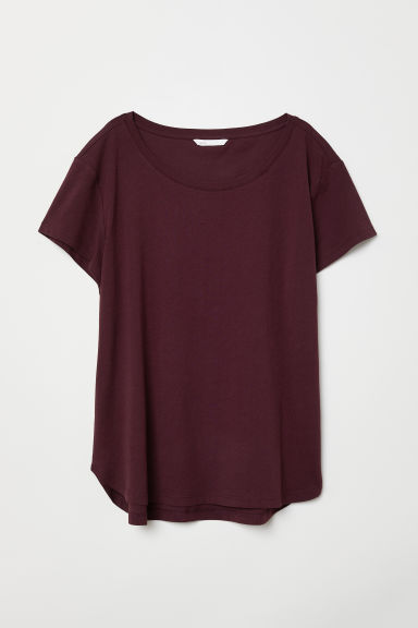 Cotton T-shirt - Plum - Ladies | H&M