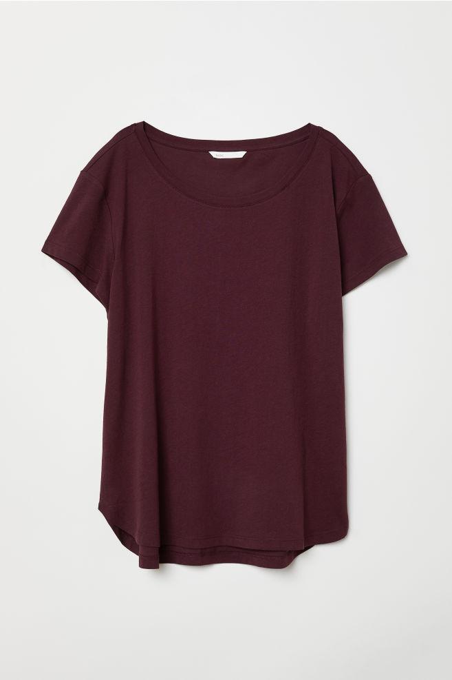 a1e5e2e38e3 T-shirt en coton - Prune - FEMME